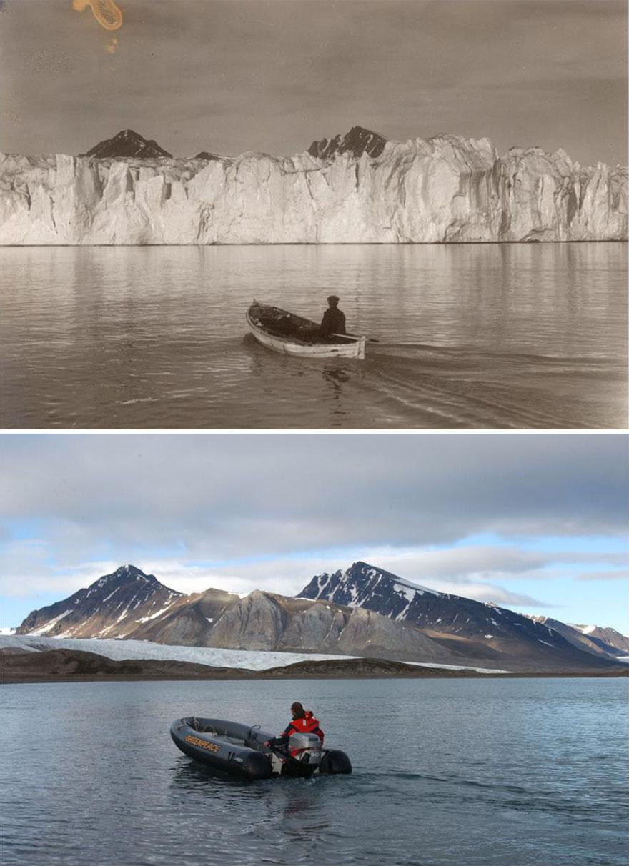 perierga.gr - H δραματική αλλαγή των παγετώνων σε 100 χρόνια!