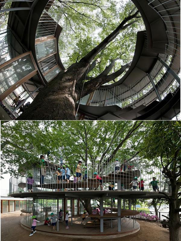 Perierga.gr - Κατασκευές χτισμένες γύρω από δέντρα