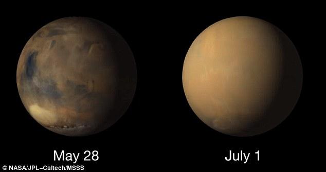 "Perierga.gr - Η ""μεταμόρφωση"" του κόκκινου πλανήτη εξαιτίας μιας καταιγίδας σκόνης"