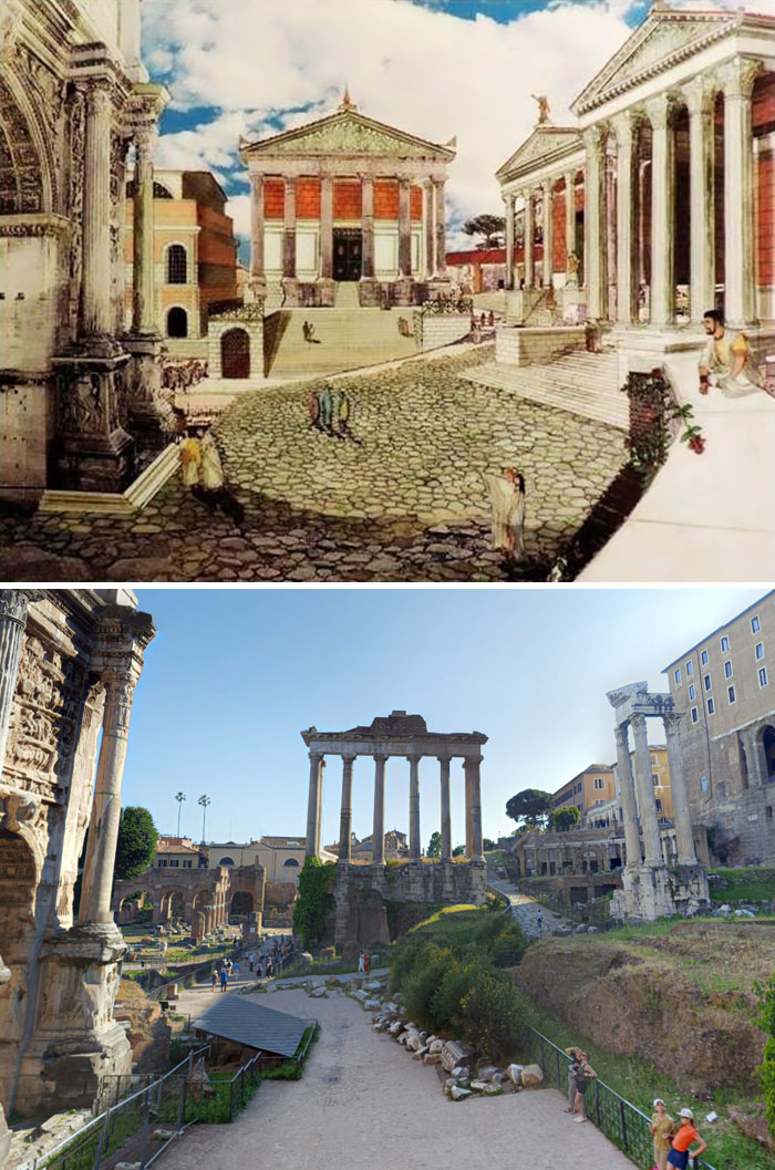 Perierga.gr - Ρωμαϊκά αξιοθέατα τότε και τώρα