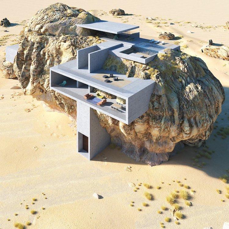 Perierga.gr - Μοντέρνο σπίτι χτισμένο σε βράχο!